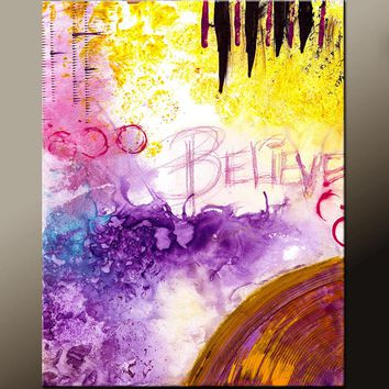 Abstract Art Print Contemporary Abstract Canvas Art by Destiny Womack - Believe - dWo