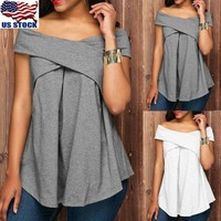 Womens Sexy Boat Neck Short Sleeve T-Shirt Tunic Tops Off Shoulder Summer Blouse