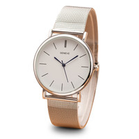 Geneva Quartz Stainless Steel Dress Watch (silver)