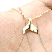 Whale Tail Necklace, Gold Whale Charm Nautical Lucky Pendant mermaid tail necklace Whales tail charm Beach necklace Ocean life necklace