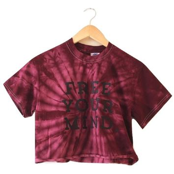 Free Your Mind. Plum Tie-Dye Graphic Cropped Tee