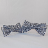 Father and Son Black and White Crosshatch Adjustable Bowtie Set
