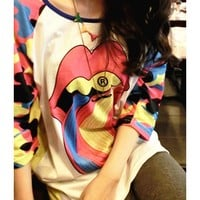 Rainbow Big Tongue Double-sided Printing T-shirt