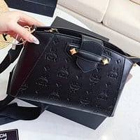 MCM New fashion more letter leather shoulder bag crossbody bag Black