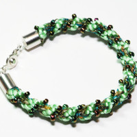 Beaded Kumihimo Bracelet Caterpillar Green by epicstitching