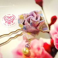 Lilac blossoms Origami Rose Hair Pin