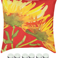 """Manual Woodworkers SLYWBL Yellow Blooming 18"""" x 18"""" Climaweave Outdoor / Indoor Pillow with 6-Pack of Tea Candles"""