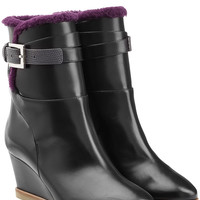 Fendi - Leather Ankle Boots with Shearling Lining