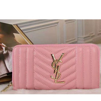 YSL Zipper Women Leather Purse Wallet pink