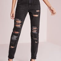 Missguided - riot high rise open rip mom jeans washed black
