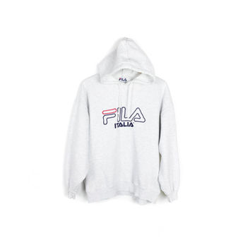 vintage FILA italia hoodie - 1990s 90s - grey white heather - pullover sweatshirt - embroidered logo
