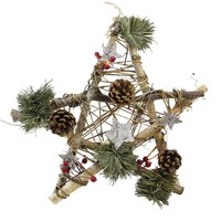 "12"" Wooden Star with Pine Cones and Twigs Rustic Christmas Ornament"