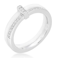 Lafi White Ceramic Cocktail Band Ring   Sterling Silver