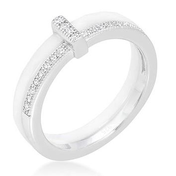 Lafi White Ceramic Cocktail Band Ring | Sterling Silver