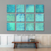 Oversized Watercolor Abstract Painting, ORIGINAL 12 square ( 15 Inch x 15 Inch)  abstract wall art,- Turquoise, blue, white, Aqua, true blue
