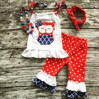 4th of July Owl Capri Set and Accesories