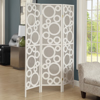 "Folding Screen - 3 Panel - White Frame "" Bubble Design """