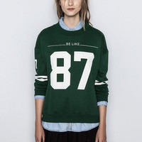 Green Digital 87 Print Knit Long Sleeve Sweater