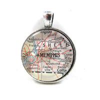 Vintage Map Pendant of Memphis, Tennessee, in Glass Tile Circle