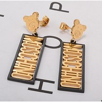 MOSCHINO Stylish Women Cute Small Bear Letter Pendant Earrings Accessories Jewelry Golden