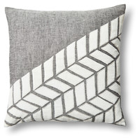 Arrow 18x18 Linen/Velvet Pillow, Gray, Decorative Pillows
