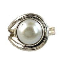 Pearl Sterling Silver Asymmetrical Ring
