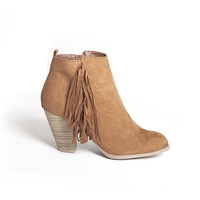 Stitch Fringe Suede Booties In Rust