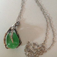 Bird Foot / Claw Oxidized Silver Bronze and Precious Egg Stone (green glass opal) Necklace