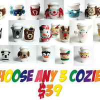 Coffee cozy trio- make your own crochet cozy gift set-  cup sleeve set of 3