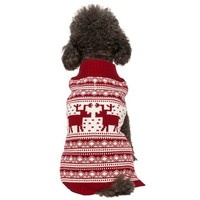 """Blueberry Pet Pack of 1 Clothes for Dogs,  Back Length 12"""",  Fancy Vintage Christmas Reindeer Holiday Festive Dog Sweater in Burgundy Red"""