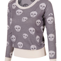 Long Sleeve Knit Skull Sweater
