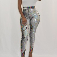 New Silver Colorful Sequin High Waisted Sparkly Stretch Casual Clubwear Sports Legging