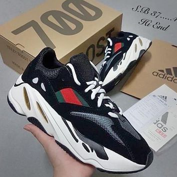 Bunchsun Adidas Yeezy 700 Boost Sneakers Fashion Casual Running Sport Shoes Black red dots