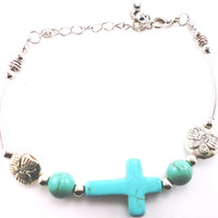 Cross and Butterfly Turquoise Bracelet - Entirely Turquoise