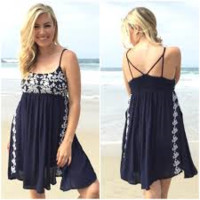 Vine Embroider Dress In Navy