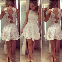 Fashion sexy women white lace Party backless prom cocktail hollow out Sleeveless dresses = 1828250116