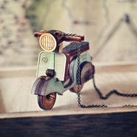 Little Scooter Necklace in Mint Green - Indie, Hipster, boho jewelry