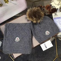 Moncler Women Beanies Knit Winter Hat Cap Cape Scarf Scarves Set Two-Piece