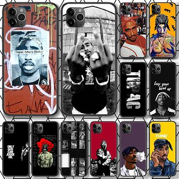 Tupac 2Pac Amaru Shakur Phone Case For iPhone 4 4s 5 5S SE 5C 6 6S 7 8 Plus X XS XR 11 12 Mini Pro Max 2020 black Cell Painting