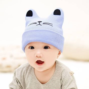 Newborn Baby Hat Autumn And Winter Pure Cotton Cute Infant Cartoon Horns Boy And Girl Baby Woolen Hat