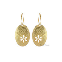 Hand Cut/Textured Micron Gold Plated Oval Shape Sterling Silver Earring Long - #1574