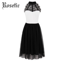 Rosetic Gothic Dress Chiffon Mesh Black A-Line Fashion Goth Dresses Party Prom Beach Young Girl Hollow Women Summer Gothic Dress
