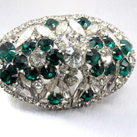 ON SALE Vintage Rhinestone Brooch, Emerald Green Clear Rhinestones, Large Oblong Domed 3 Inches Long