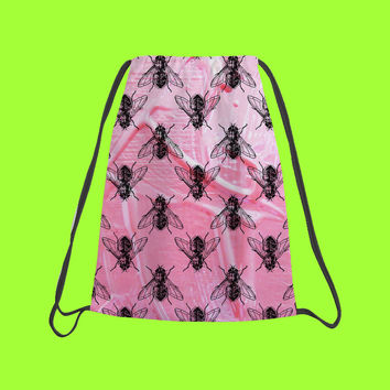 diptera cinch bag | bug insect housefly fly gross cute pink pastel goth grunge punk backpack bag drawstring