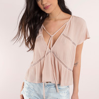 Rosy Plunging Top