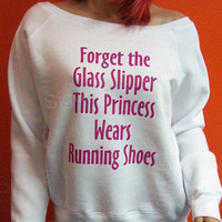 This Princess Wears Running Shoes Womens Slouchy Wideneck Sweatshirt  Triblend Sponge Fleece fitness gym Glass Slipper  Off the shoulder
