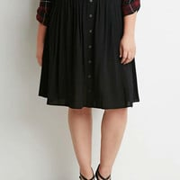Plus Size Black Buttoned Pleated Midi Skirt