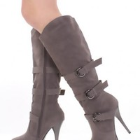 Grey Faux Suede Buckle Strapped AMIclubwear Boots @ Amiclubwear Boots Catalog:women's winter boots,leather thigh high boots,black platform knee high boots,over the knee boots,Go Go boots,cowgirl boots,gladiator boots,womens dress boots,skirt boots,pink bo