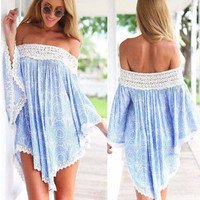 Asymmetrical Off Shoulder Lace Trim Beach Dress