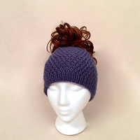 Blue Ponytail Hat, Knit Messy Bun Textured Beanie with a Hole, Wide Headband, Runner's Ear Muffs